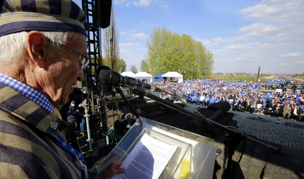 Ed Mosberg addressing 10,000 people at Auschwitz Birkenau at the 2017 March of the Living