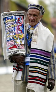 Ed Mosberg carrying the Torah at the 2017 March of the Living between Auschwitz and Birkenau (1)