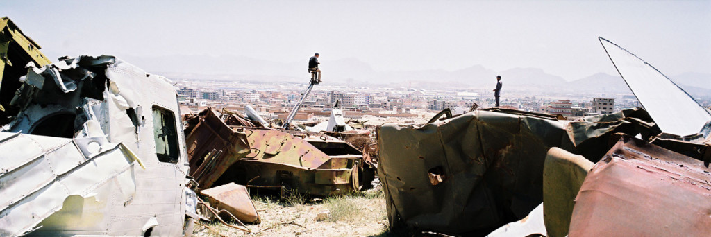 The Land of the Enlightened. Filming among old tanks